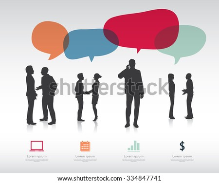 Modern infographic for business project with silhouette people. - stock vector