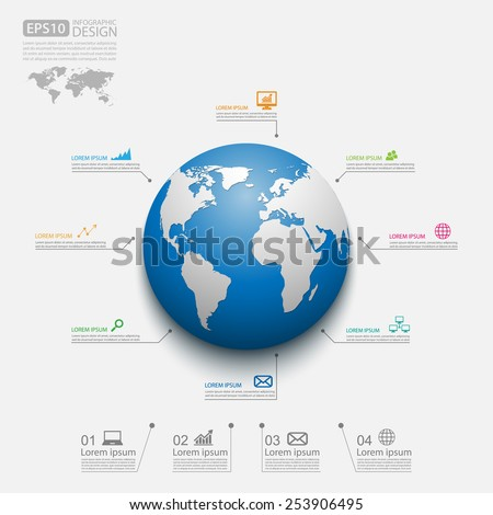 Modern infographic global template,Vector - stock vector
