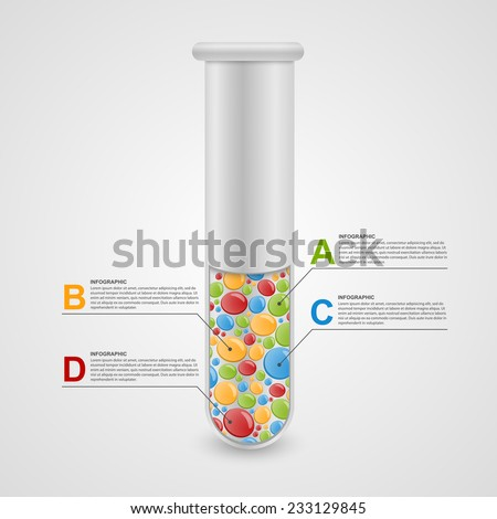 Modern infographic on science and medicine in the form of test tubes. Design elements. - stock vector
