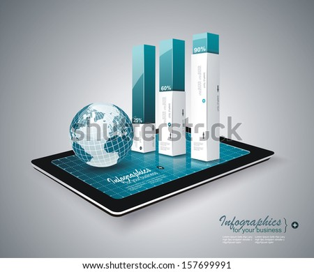 Modern Infographic on Tablet PC  - stock vector