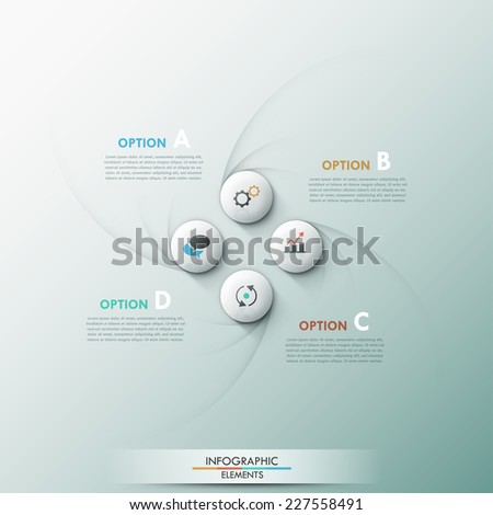Modern infographic option banner with 3d circles and curved textures on grey background. Vector. Can be used for web design and  workflow layout - stock vector