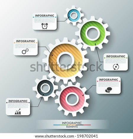 Modern infographic options banner with color gear chain. Vector. Can be used for web design and workflow layout - stock vector