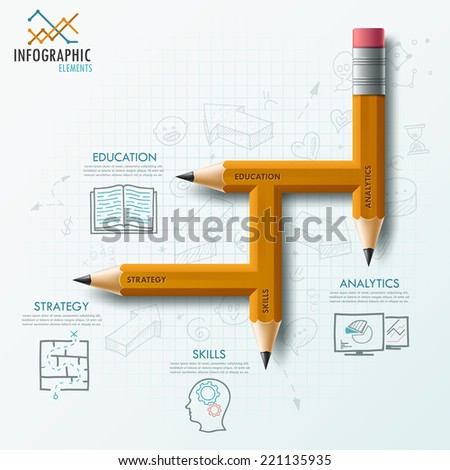 Modern infographic process template with unusual pencil for 4 steps and hand drawn sketches on paper background.  Vector. Can be used for web design and  workflow layout - stock vector