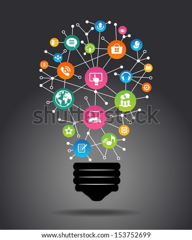 Modern infographic template. Creative light bulb with application icon. Business software and social media   concept. File is saved in AI10 EPS version. This illustration contains a transparency.   - stock vector