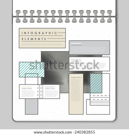 modern infographic template design in notebook style - stock vector