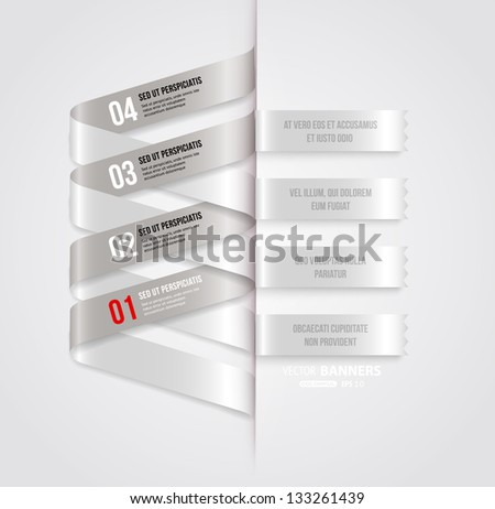Modern infographic template for business design with ribbons. Can be used for banners, cards, paper designs, website layouts, diagrams and presentations. Vector eps10 illustration. - stock vector