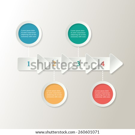 Modern infographic template - infograph with arrows and colorful circles - stock vector