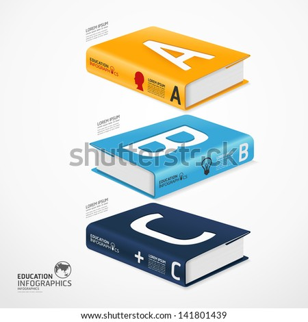 modern infographic Template with book and globe banner / can be used for infographics / banners / concept vector illustration - stock vector