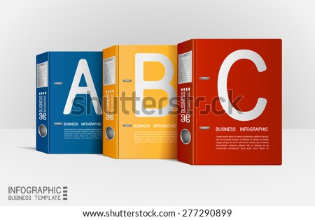 Modern infographic template, with folders. Can be used for layout, diagram, web design, etc, EPS 10, contains transparency. - stock vector