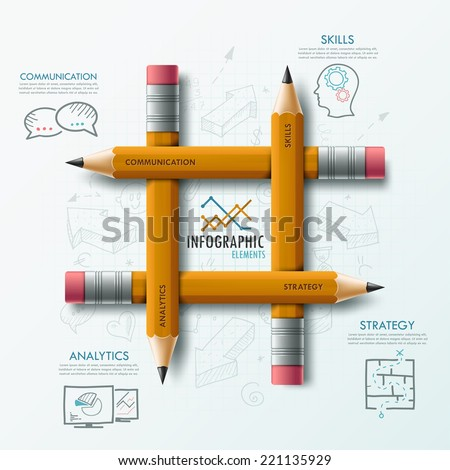 Modern infographic template with 4 pencils and hand drawn sketches on paper background.  Vector. Can be used for web design and  workflow layout - stock vector