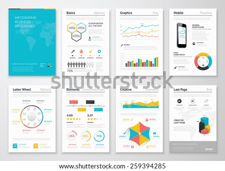Modern infographic vector elements for business brochures. Use in website, corporate brochure, advertising and marketing. Pie charts, line graphs, bar graphs and timelines. - stock vector