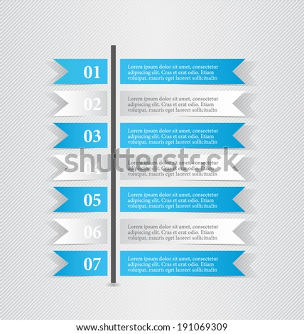 Modern infographic white and blue design template sticker notes vector illustration - stock vector