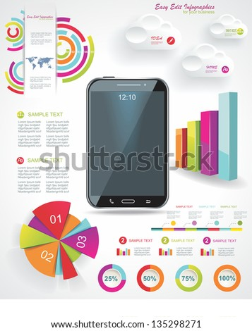 Modern Infographic with a touch screen smartphone in the middle. - stock vector