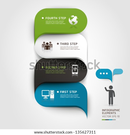 Modern infographics bubble speech template style. Vector illustration. can be used for workflow layout, diagram, number options, step up options, web design, banner template. - stock vector
