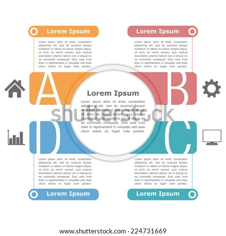Modern infographics design template with four elements, icons and text ; circle infographics template ; circle business diagram ; vector eps10 illustration - stock vector