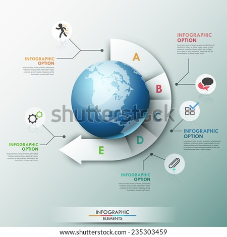 Modern infographics global template for 5 options. Vector. Can be used for workflow layout, banner, diagram, web design, infographic template. - stock vector