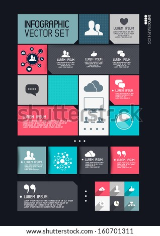 Modern Infographics Interface, information boxes and tabs. Vector illustration - stock vector