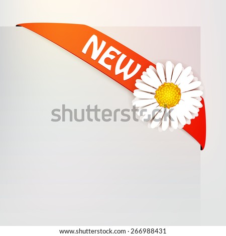 Modern infographics label with small flower  - stock vector