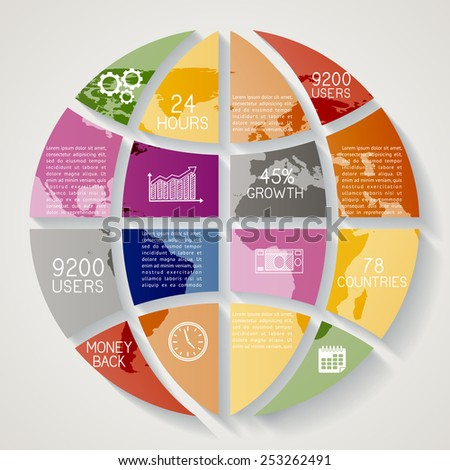 Modern infographics option banner, abstract world map EPS 10 - stock vector