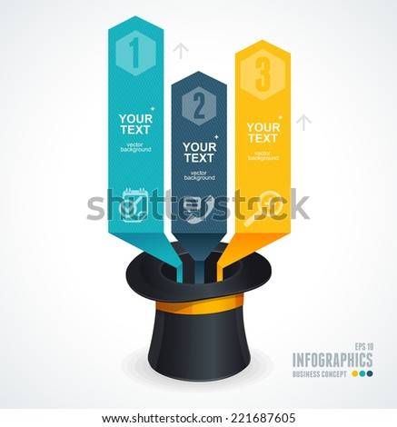Modern infographics options banner 1 2 3. Magic hat and arrows - stock vector