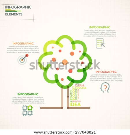 Modern infographics options banner with colorful tree in outline style. Vector. Can be used for web design and  workflow layout