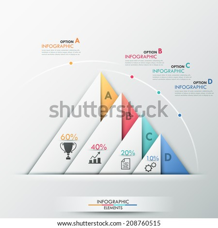 Modern infographics options banner with 4(four) color paper triangles, editable text and icons on grey background. Vector. Can be used for web design and workflow layout.