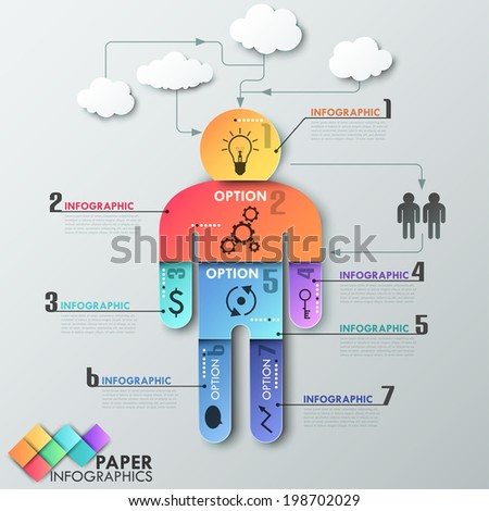 Modern infographics options banner with man made of colorful paper sheets. Vector. Can be used for web design and  workflow layout - stock vector