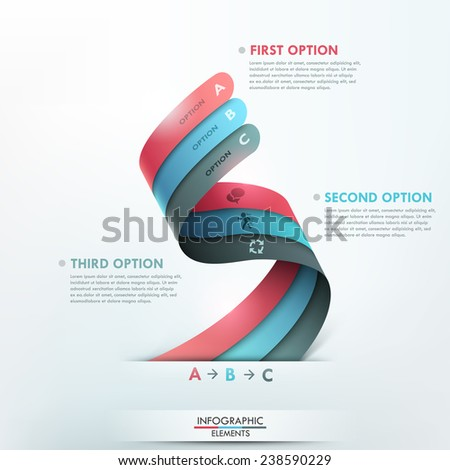 Modern infographics options banner with 3 realistic curved colorful ribbons. Vector. Can be used for web design and  workflow layout - stock vector