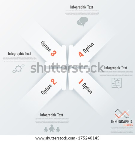 Modern infographics options banner with white paper arrows. Vector. Can be used for web design and  workflow layout