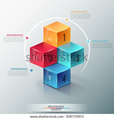 Modern infographics options template with realistic colorful cubes and 4 options, icons and editable text. Vector. Can be used for web design and workflow layout. - stock vector