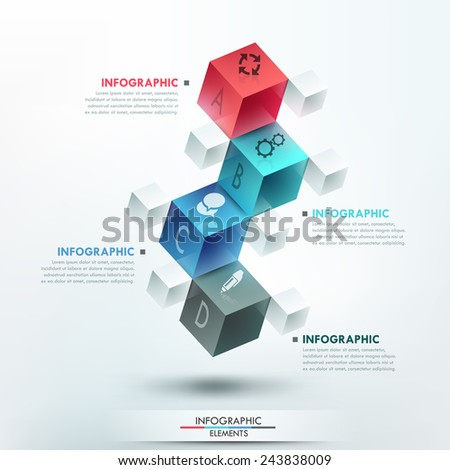 Modern infographics options template with 4 realistic colorful cubes and 4 options, icons and editable text on bright background. Vector. Can be used for web design and workflow layout. - stock vector