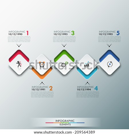 Modern infographics process template with paper sheets (rectangles with rounded corners), icons and text for 4 options. Vector. Can be used for web design, timeline and workflow layout - stock vector