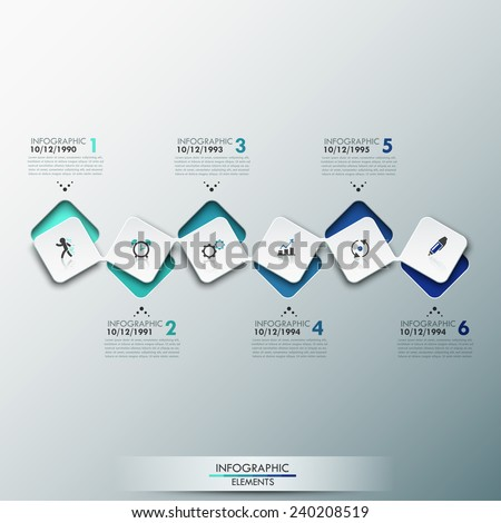 Modern infographics process template with paper sheets (rectangles with rounded corners), icons and text for 6 steps. Vector. Can be used for web design, timeline and workflow layout - stock vector