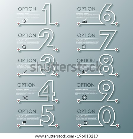 Modern infographics process template with set of numbers made of white line. Vector. Can be used for web design and  workflow layout - stock vector