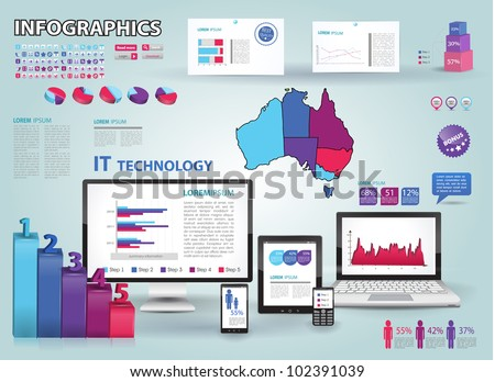 Modern infographics set and icons IT tehnology. Map of Australia and Information Graphics - stock vector