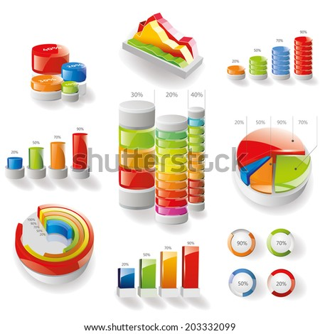Modern infographics set. Diagrams and Bar chart design. Vector - stock vector