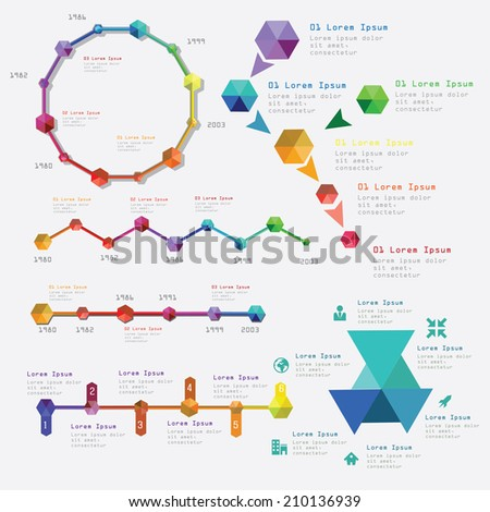 Modern infographics set. Time Lines and  chart design. Vector - stock vector