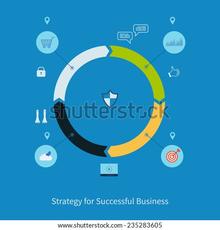 Modern infographics set. Vector illustration icons set of Strategy for Successful Business. - stock vector