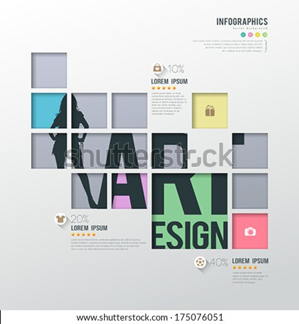 Modern infographics squares template for business shopping background, vector illustration