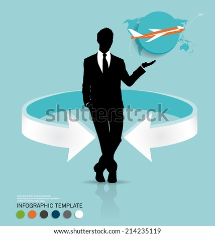 Modern infographics template style. Businessman with plane. Vector illustration. - stock vector