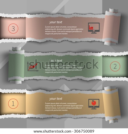 Modern infographics template torn paper style - stock vector