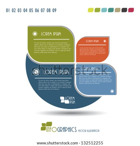Modern Infographics template. Vector illustration. Seven color included - stock vector
