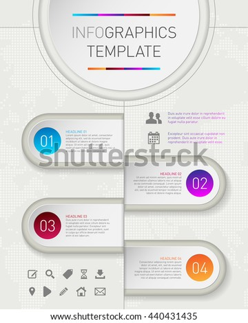 Modern infographics timeline template for text and icons. Vector illustration. - stock vector