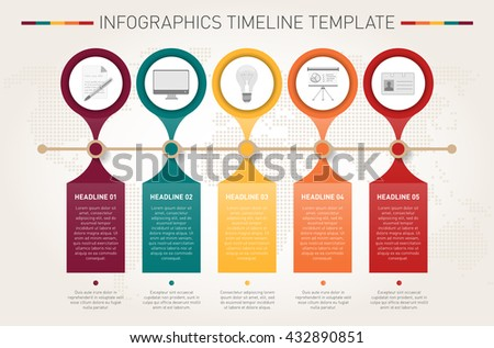 Modern infographics timeline template. Vector illustration. - stock vector