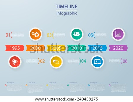 Modern infographics timeline template with colorful circles for 6 steps and icons. Can be used for workflow layout, diagram, number options, step up options, web design, infographics, presentations. - stock vector