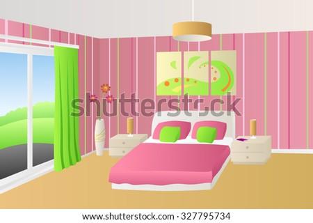 Modern Interior Bedroom Beige Pink Green Stock Vector 327795734 ...