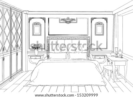 Modern interior bedroom hand drawing - stock vector
