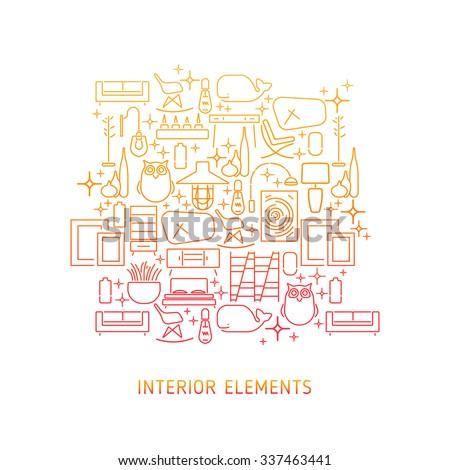Seamless pattern modern furnituretemplate design for Modern interior design logos