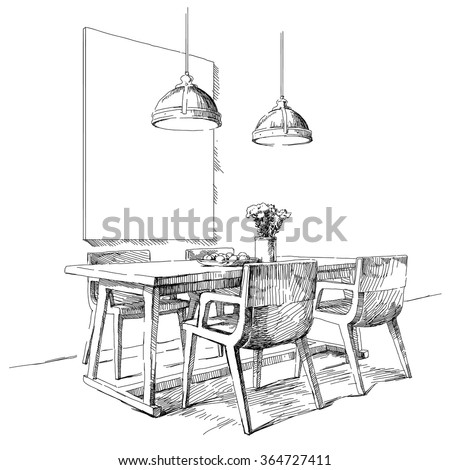 Modern interior hand drawing vector. - stock vector