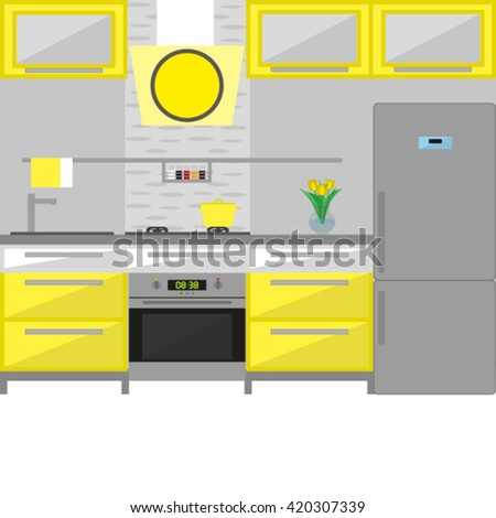 Modern Interior. Kitchen. Room Design in yellow tone. Minimalism Style. Room with Furniture. Vector illustration - stock vector